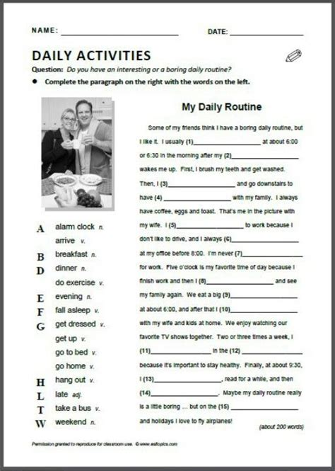 Esl Lesson Worksheets by Daily Activities Grammar Vocab