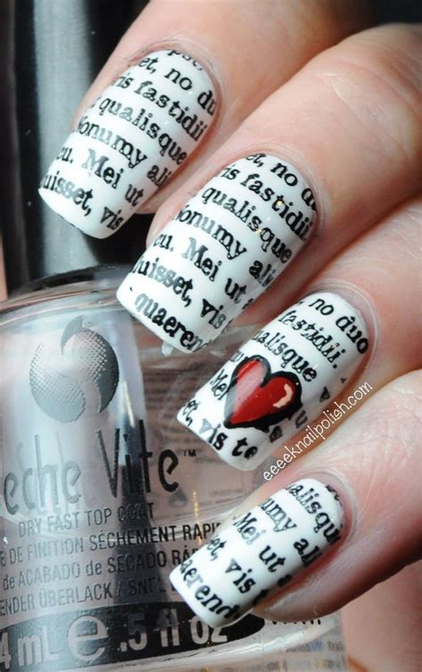 How To Make Nail Designs With Paper - 20 cool newspaper nail ideas 2017
