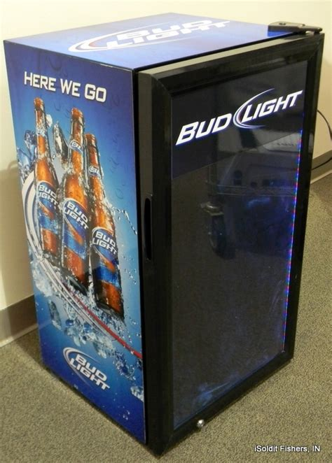 bud light beer cooler with video screen door nfl bud light mini fridge display cooler ebay