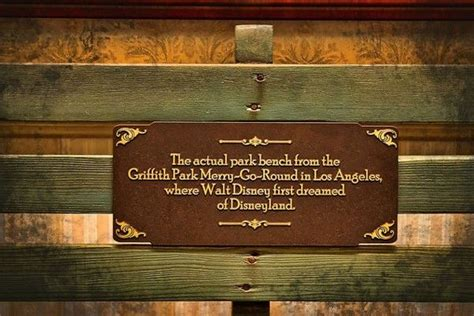 walt disney bench disneyland plaque from the actual bench from griffith