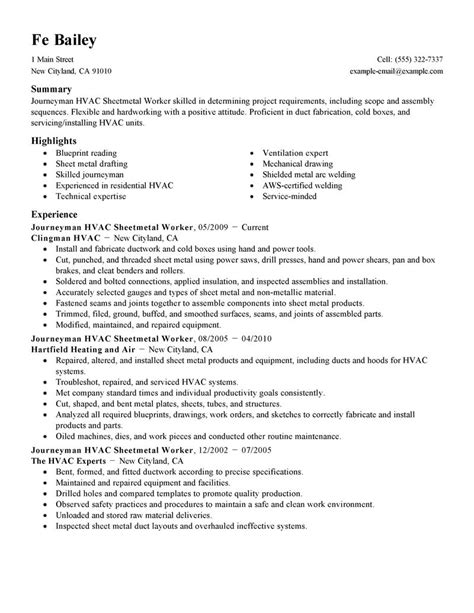 Resume Jobs Objective by Journeymen Hvac Sheetmetal Workers Resume Examples