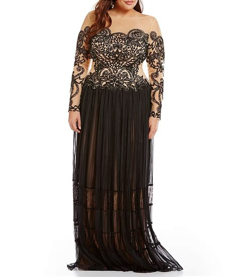 terani couture beaded gown terani couture plus illusion beaded gown dillards