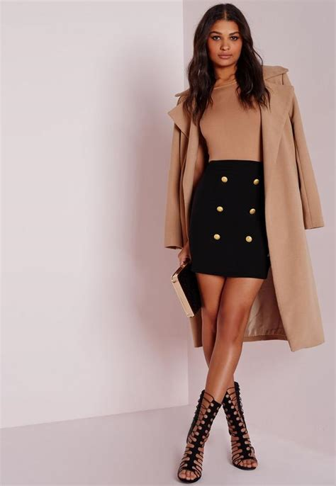 Button Front Mini Skirt statement button front mini skirt black missguided