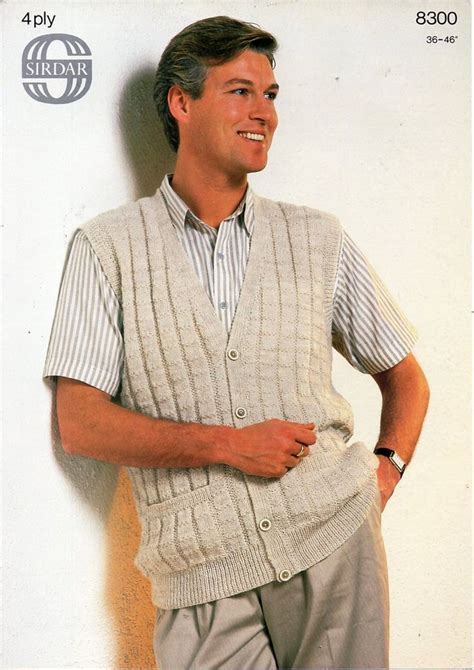 Skl2 39 S Sleeveless Cardigan mens 4ply waistcoat knitting pattern pdf ribbed vest with pockets sleeveless cardigan vintage 36
