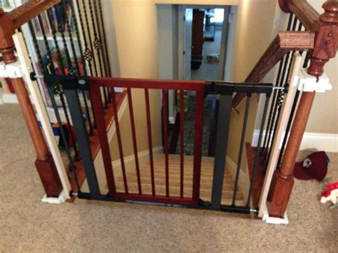 top of stairs baby gate with banister baby gates for stairs home design by larizza