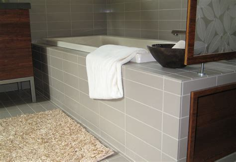 Tiling Side Of Bathtub by Asheville Bathroom Remodel Contractor Breitzke Carpentry