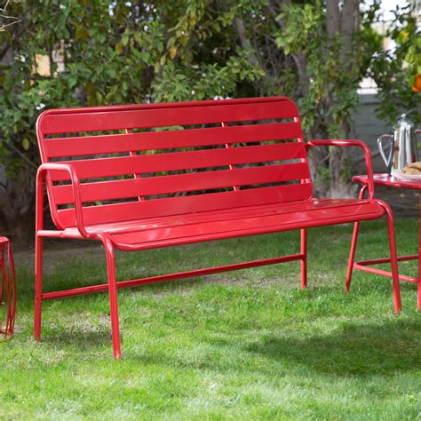 metal outdoor benches belham living adley outdoor metal slat garden bench