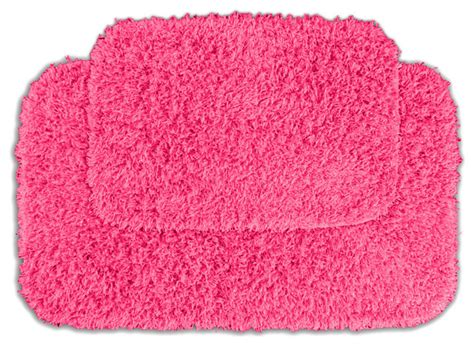 pink bathroom rugs and mats quincy shaggy pink bath rugs set of 2