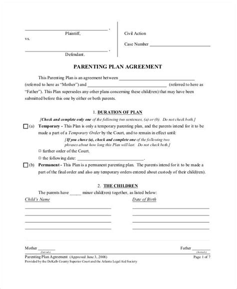 custody agreement template parenting plan template shared parenting plan template