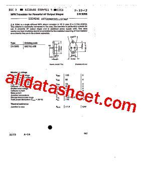transistor equivalent to 2n3055 2n3055 datasheet pdf siemens semiconductor