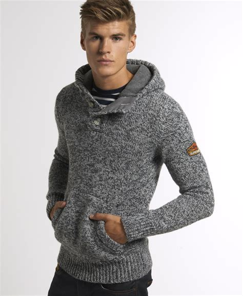 mens knitting pattern hooded jumper new mens superdry ski dog hooded henley jumper grey twist
