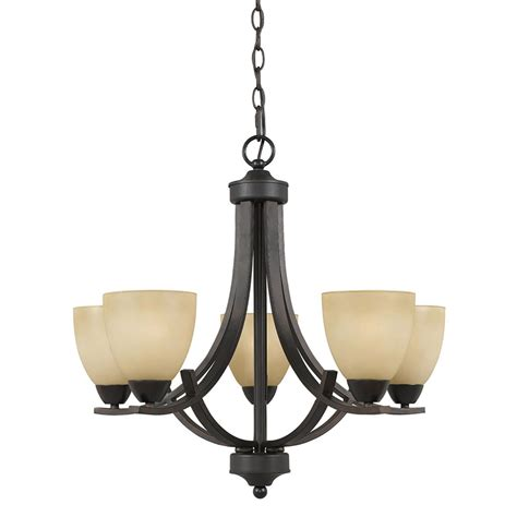 Shop Anitra 24 In 5 Light Bronze Tinted Glass Candle Dining Room Chandeliers Lowes
