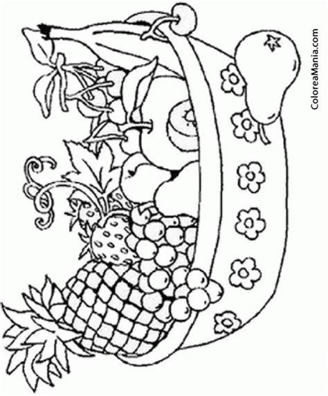 imagenes de frutas faciles para dibujar colorear cesta con variedad de frutas frutas dibujo