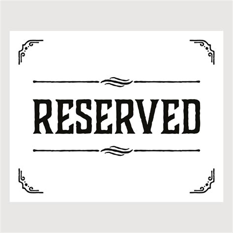 reserved sign template word reserved sign for table www pixshark images