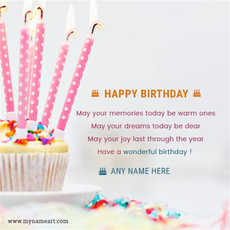 Birthday Card Wishes Write Name On Candle Cake Birthday Card Wishes Greeting Card