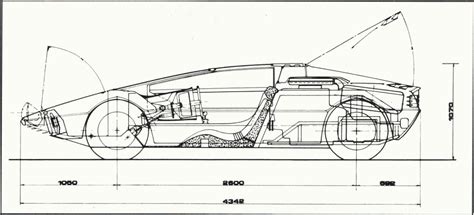 Wall Blueprints by 1972 Maserati Boomerang Dimensions Blueprint Drawing