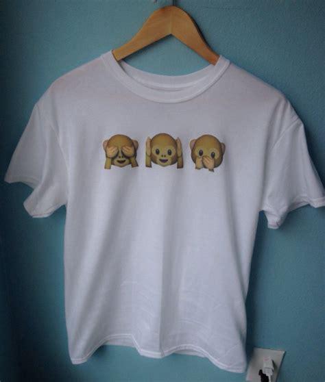 design your own emoji clothes triple monkey emoji crew neck t shirt