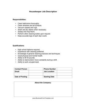 Housekeeper Job Description Template Cleaning Duties Template