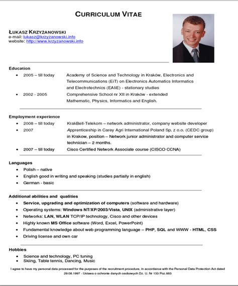 Exemple Type De Cv by Exemple Cv