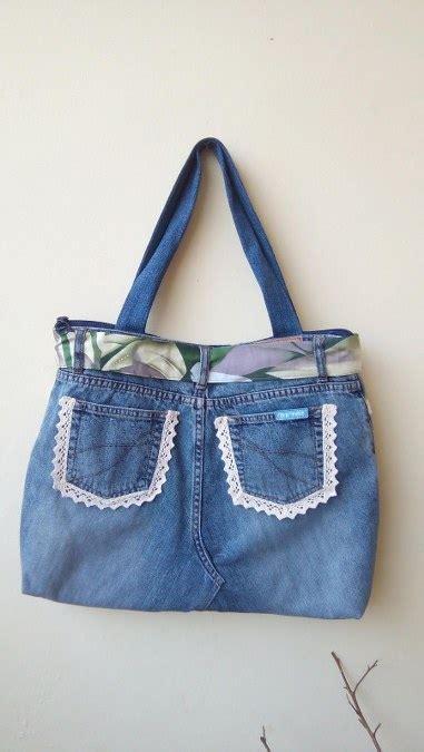 Bag Denim Cantik kreasi daur ulang celana bekas menjadi dompet dan
