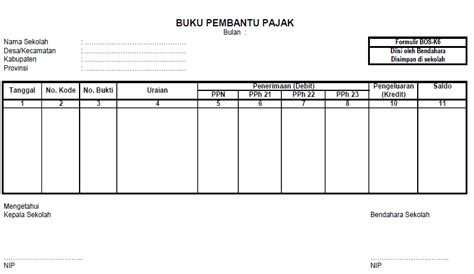 format buku kas pembantu buku pembantu bank dan pajak format bos k5 dan k6 deuniv