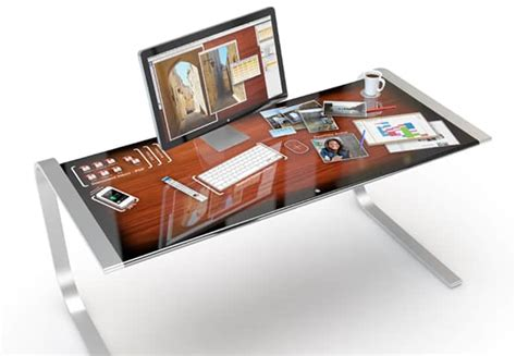 touch screen desk surface entire touchscreen desk makes your work more efficiently