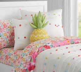 bright pom pom quilted bedding pottery barn