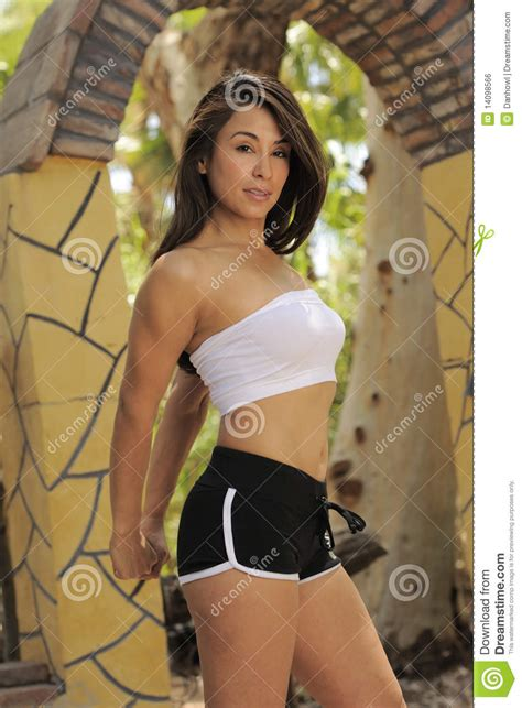 little girl mexican model fitness model colorful garden stock photo image 14098566