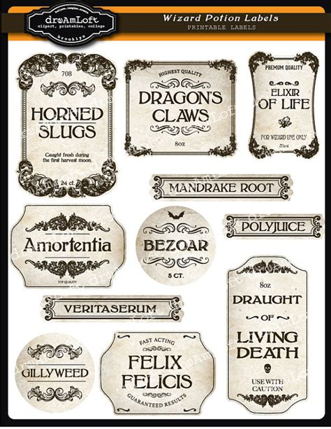 Potion Label Template wizard potion and apothecary printable frames