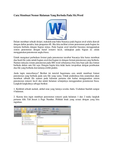 cara membuat halaman pada makalah word cara membuat nomor halaman yang berbeda pada microsoft