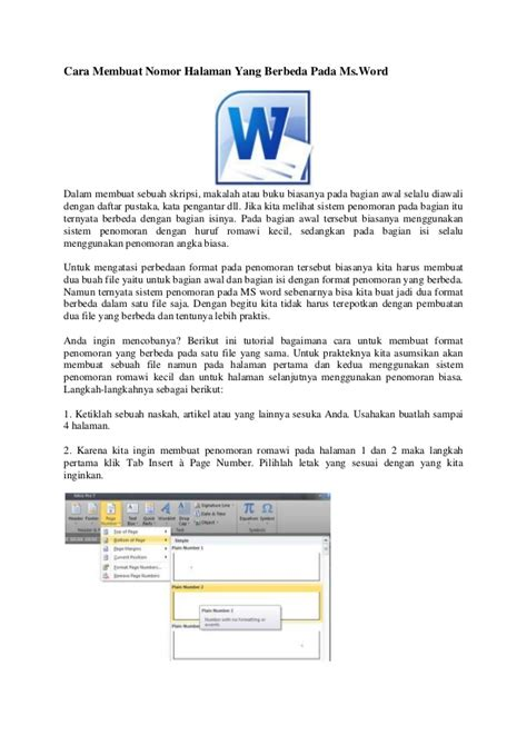 cara membuat halaman romawi dan angka pada word 2007 cara membuat nomor halaman yang berbeda pada microsoft