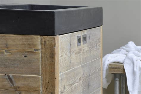 houten badmeubel met waskom betonnen wasbak met houten badkamermeubel product in