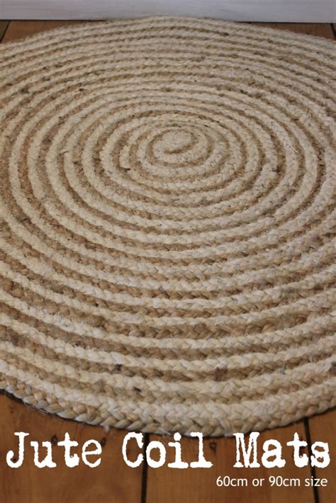 mat or rug floor mat rug jute woven braided throw coil rug 60cm or 90cm luxury