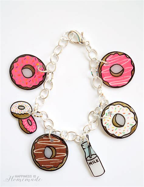 Shrinky Dink Donut Charm Bracelet   Happiness is Homemade