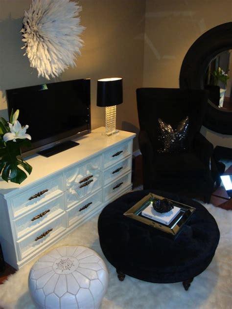 Black Velvet Ottoman   Contemporary   living room   For