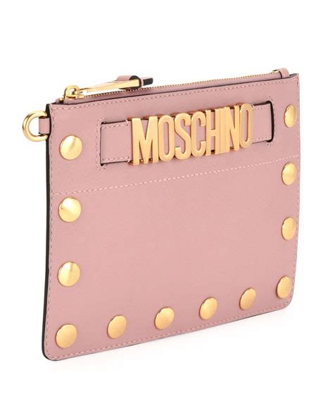 Faux Leather Wristlet Clutch moschino studded faux leather wristlet clutch bag pink