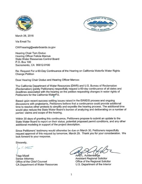 Request For Continuance Letter Exle State And Feds Request 60 Day Extension On Hearing For Delta Tunnels