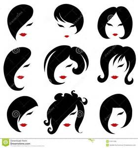 big set of black hair styling for woman royalty free stock