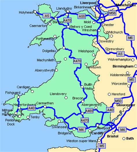printable road map of wales uk road map of wales