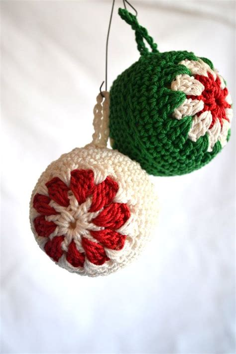 vintage crocheted christmas tree ornaments balls decorations