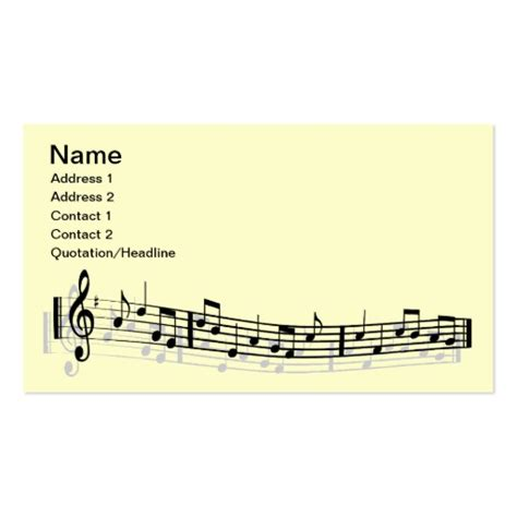 Musical Note Card Template by Musical Notes Pack Of Standard Business Cards Zazzle