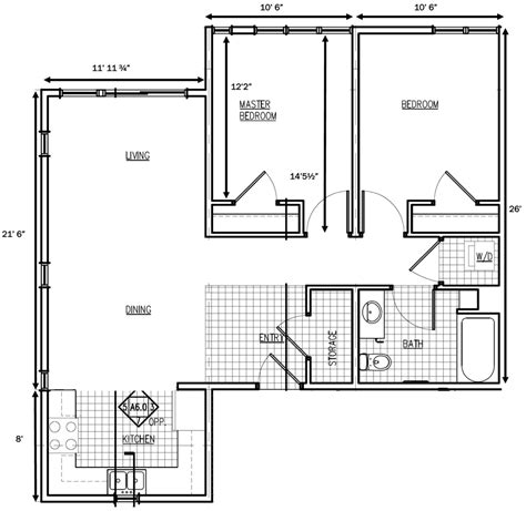 gile hill affordable rentals 2 bedroom floorplan