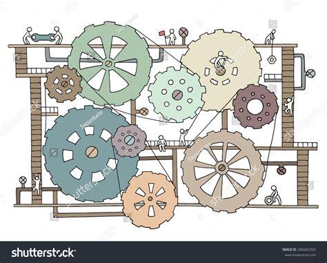 doodle mechanism sketch teamwork gears production doodle stock