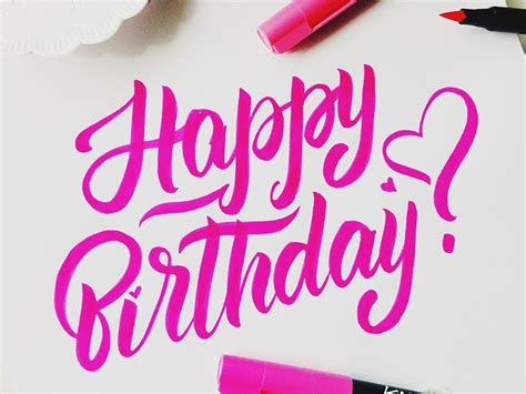 Happy birthday lettering! :) by Rita Konik   Dribbble