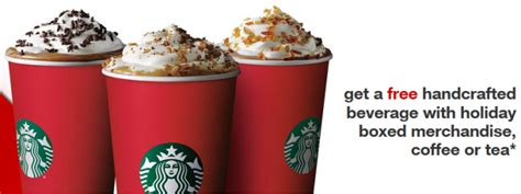 Handcrafted Starbucks - free handcrafted beverage with a gift purchase at