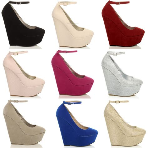 High Heels M2m 3 womens high heel wedge platform toe ankle shoes size ebay