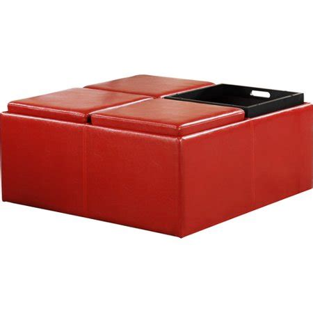 cocktail storage ottoman with 4 trays faux leather