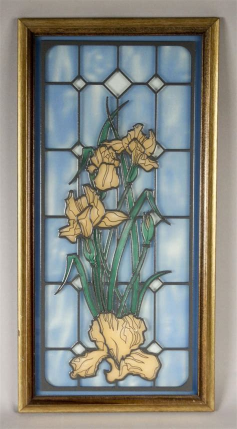 stained glass style flowers framed