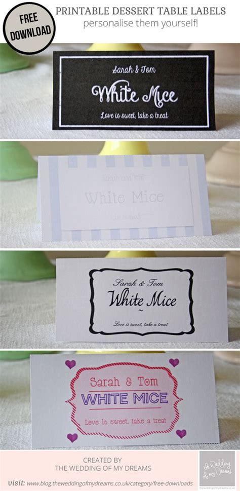 Dessert Table Labels Template Free Download Wedding Label Templates Templates Free And Dessert Labels Template