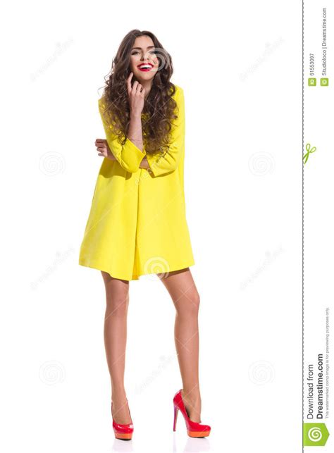 Dress Model Style Impor Yellow Purple Pink laughing in vibrant mini dress royalty free stock image cartoondealer 91493284